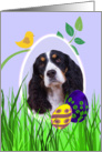 Easter Card featuring a black tri English Springer Spaniel card