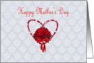 Happy Mother's Day, red roses with heart card