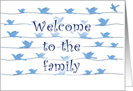 Welcome to the family, flock of birds card