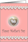 Happy Mother's Day, pearls and lace, pink card