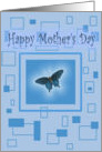 Blue on Blue, blue butterfly with blue background, Mother's Day card