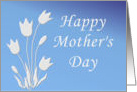 Happy Mother's Day white silhouette of tulips on blue gradient card