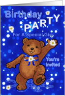 Birthday Party Teddy Bear Invitation for Girl card