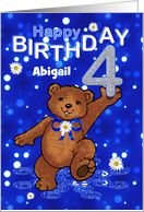 4th Birthday Dancing Teddy Bear for Girl, Custom Name card