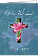 Easter Blessings For Mum, Pink Hibiscus Cross card