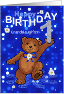 1st Birthday Dancing Bear for Granddaughter card