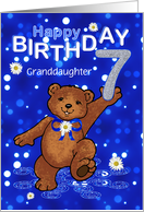 7th Birthday Dancing Bear for Granddaughter card