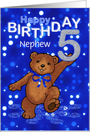 5th Birthday Dancing Teddy Bear for Nephew card