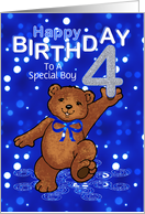 4th Birthday Dancing Teddy Bear for Boy, Custom Text card
