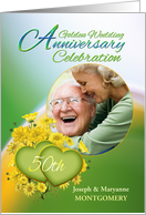 50th Anniversary Party Invitation Yellow Flowers, Custom Photo card