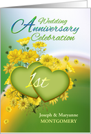 1st Anniversary Party Invitation Yellow Flowers, Custom Name card