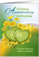 40th Anniversary Party Invitation Yellow Flowers, Custom Name card