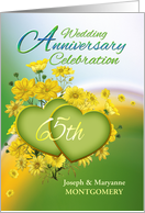 65th Anniversary Party Invitation Yellow Flowers, Custom Name card