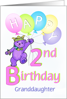 Granddaughter 2nd Birthday Teddy Bear Princess card