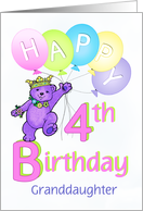 Granddaughter 4th Birthday Teddy Bear Princess card
