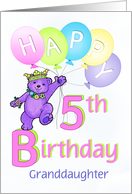 Granddaughter 5th Birthday Teddy Bear Princess card