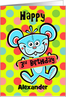 3rd Birthday Aqua Bear and Polka dots Custom Name card
