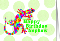 Nephew Happy Birthday Rainbow Salamander card