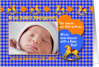 Boy Birth Announcement Photo Card - Rocking Horse Hearts card