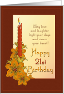 Happy 21st Birthday Tiger Lily Candle card