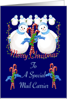 Christmas Snowmen for Mail Carrier card