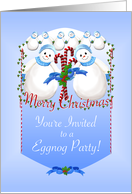 Snowmen Christmas Eggnog Party Invitation card