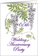 65th Wedding Anniversary Party Invitation, Purple Flowers card