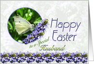 Happy Easter Husband Butterfly and Flowers card