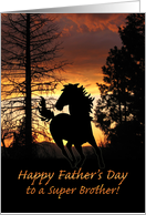 For Brother Father's Day Wild Horse Sunset card