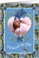 Birth Announcement Photo Card Girl Flowers and Heart card