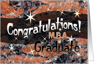 M.B.A. Graduate Congratulations Orange card