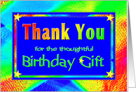 Birthday Gift Thank You Cards Bright Lights card