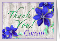Cousin Thank You Purple Clematis card