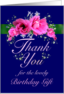 Birthday Gift Thank You Pink Flower Bouquet card