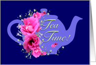 Tea Time Invitations Pink Flower Bouquet card