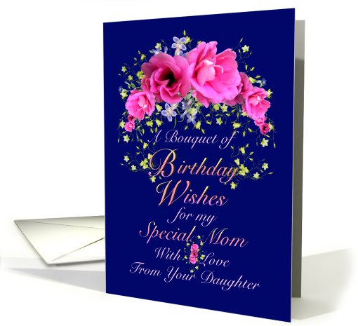 mom birthday wishes from daughter pink bouquet card, Birthday card
