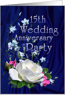 White Rose, 15th Wedding Anniversary Party Invitation card
