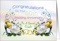 50th Wedding Anniversary White Roses card