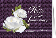 70th Anniversary for Parents, White Roses card