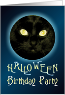 Cat in the Moon Halloween Birthday Party Invitations card