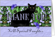 Daughter Thank You Flowers, Butterflies and Cat card