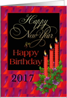 Birthday on New Year's Day Candles Glow card