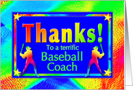 Thanks to Baseball Coach with Bright Lights and Stars card