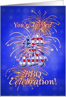 4th of July Fireworks BBQ Party Invitation card