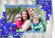 Happy Birthday From All of Us Purple Clematis Vine card