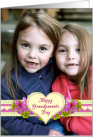 Grandparents Day Flowers and Hearts Photo Card