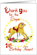 1st Birthday Thank You Rocking Horse card