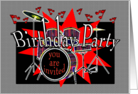 Musical Drum Beat Teen Birthday Party Invitation card