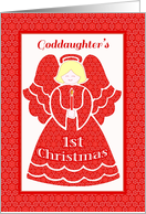 Red Lace 1st Christmas Angel for Goddaughter card
