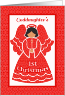 Goddaughter's 1st Christmas, Angel In Red Lace card